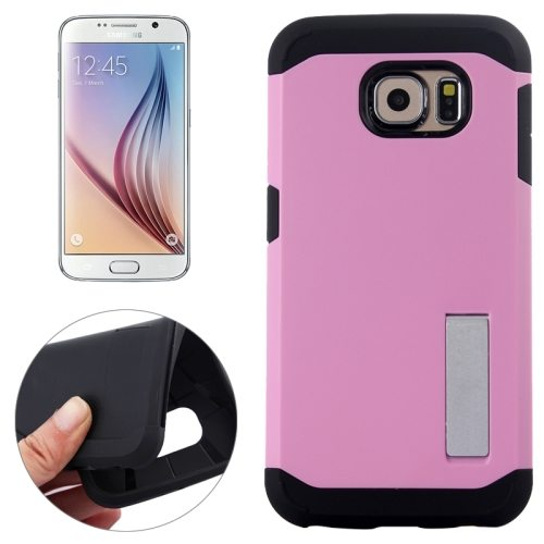 Slim Armor TPU and Hard Shockproof Hybrid Cover for Samsung Galaxy S6 with Holder (Pink)