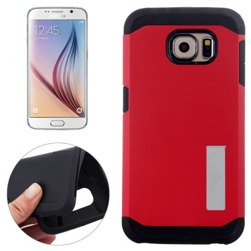 Slim Armor TPU and Hard Shockproof Hybrid Cover for Samsung Galaxy S6 with Holder (Red)