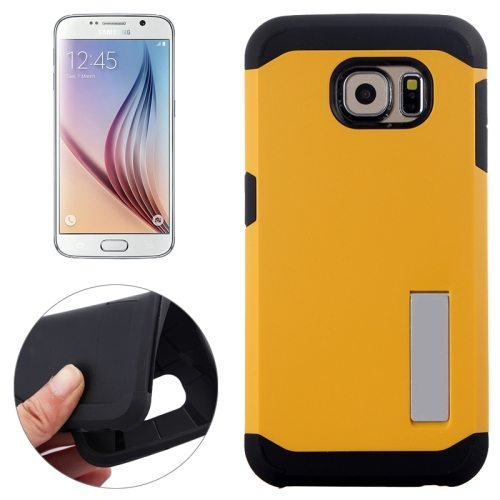Slim Armor TPU and Hard Shockproof Hybrid Cover for Samsung Galaxy S6 with Holder (Yellow)