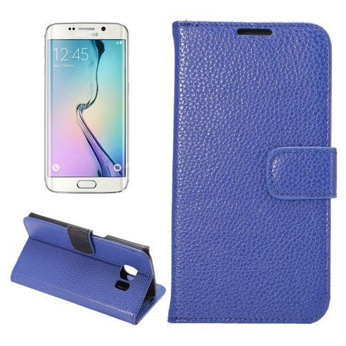Litchi Texture Flip Wallet Leather Case for Samsung Galaxy S6 edge (Blue)