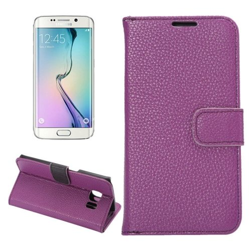 Litchi Texture Flip Wallet Leather Case for Samsung Galaxy S6 edge (Purple)