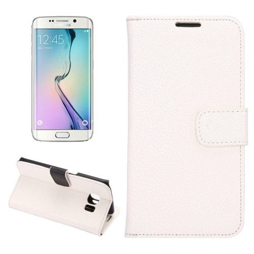 Litchi Texture Flip Wallet Leather Case for Samsung Galaxy S6 edge (White)