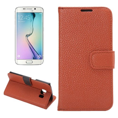 Litchi Texture Flip Wallet Leather Case for Samsung Galaxy S6 edge (Brown)