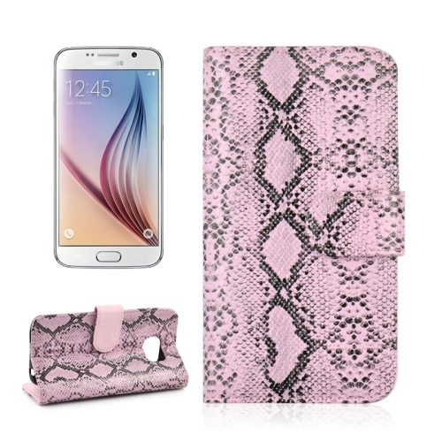 Snake Skin Pattern Flip Leather Case for Samsung Galaxy S6 with Photo Slot (Pink)
