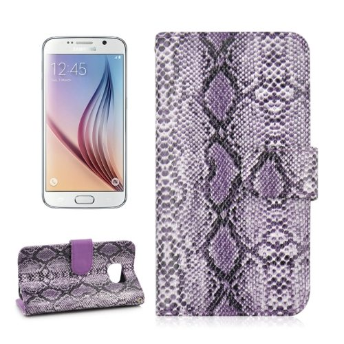 Snake Skin Pattern Flip Leather Case for Samsung Galaxy S6 with Photo Slot (Purple)