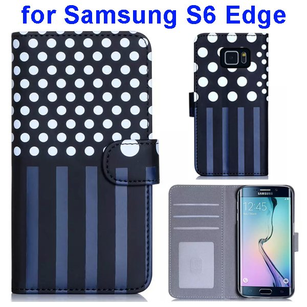 Dot and Stripe Pattern Flip Wallet Case for Samsung Galaxy S6 Edge with Stand (White)
