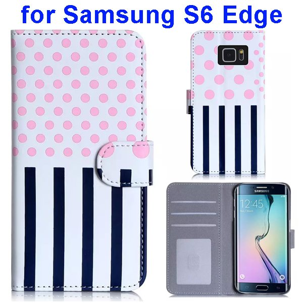 Dot and Stripe Pattern Flip Wallet Case for Samsung Galaxy S6 Edge with Stand (Pink)