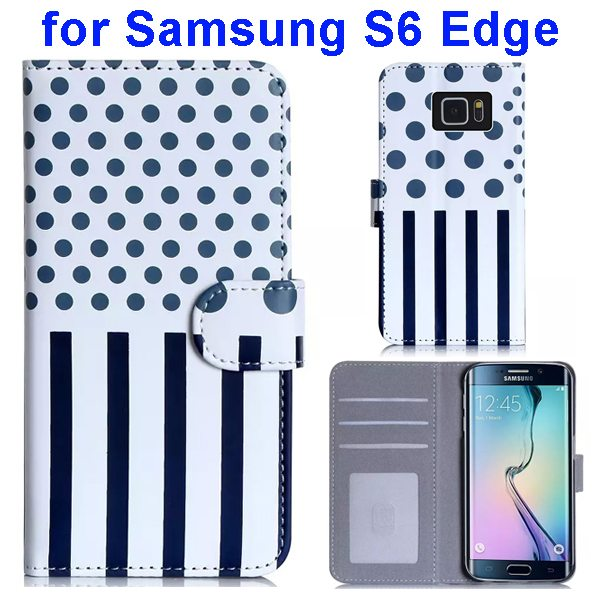 Dot and Stripe Pattern Flip Wallet Case for Samsung Galaxy S6 Edge with Stand (Dark Blue)