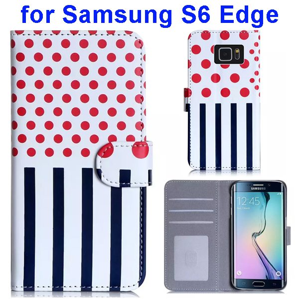 Dot and Stripe Pattern Flip Wallet Case for Samsung Galaxy S6 Edge with Stand (Red)