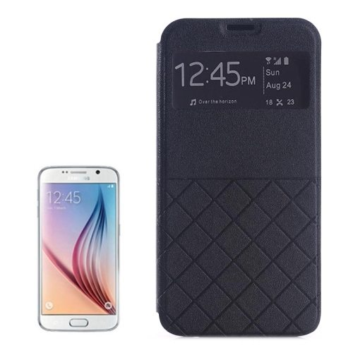 Frosted Rhombus Texture Synthetic Leather Flip Cover for Samsung Galaxy S6 with Caller ID Display Window (Black)