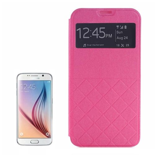 Frosted Rhombus Texture Synthetic Leather Flip Cover for Samsung Galaxy S6 with Caller ID Display Window (Rose)