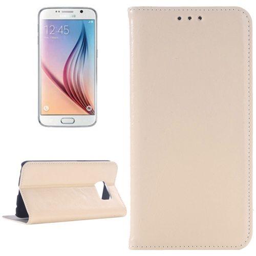 Oil Skin Texture Flip Genuine Leather Case for Samsung Galaxy S6/ G920 (Khaki)