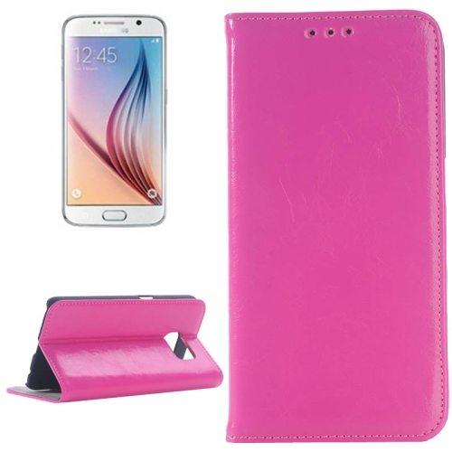 Oil Skin Texture Flip Genuine Leather Case for Samsung Galaxy S6/ G920 (Magenta)