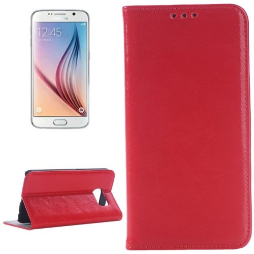 Oil Skin Texture Flip Genuine Leather Case for Samsung Galaxy S6/ G920 (Red)
