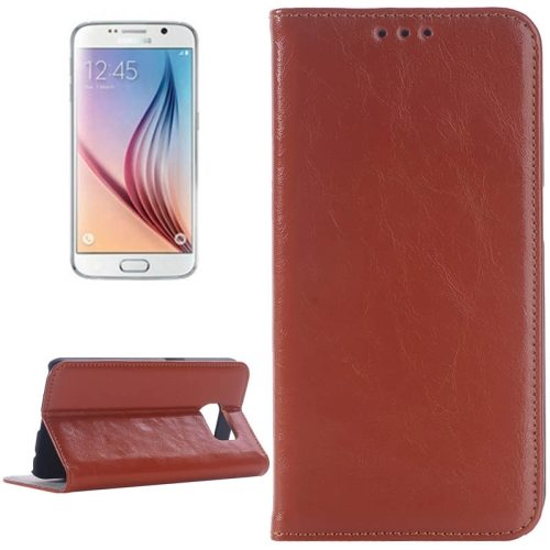 Oil Skin Texture Flip Genuine Leather Case for Samsung Galaxy S6/ G920 (Brown)