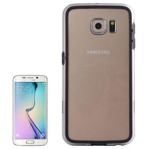 Transparent Plastic + TPU Bumper Frame Case for Samsung Galaxy S6 (Black)