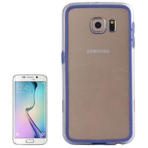 Transparent Plastic + TPU Bumper Frame Case for Samsung Galaxy S6 (Blue)