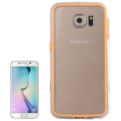 Transparent Plastic + TPU Bumper Frame Case for Samsung Galaxy S6 (Orange)