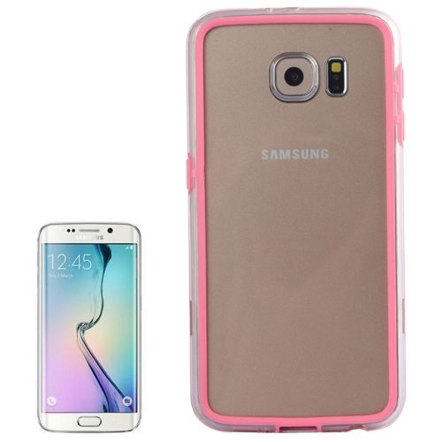 Transparent Plastic + TPU Bumper Frame Case for Samsung Galaxy S6 (Pink)