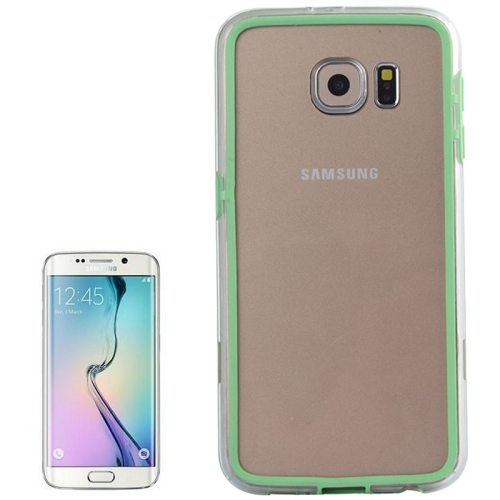 Transparent Plastic + TPU Bumper Frame Case for Samsung Galaxy S6 (Green)