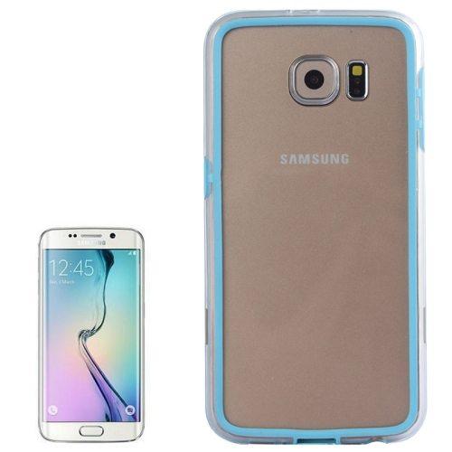 Transparent Plastic + TPU Bumper Frame Case for Samsung Galaxy S6 (Baby Blue)