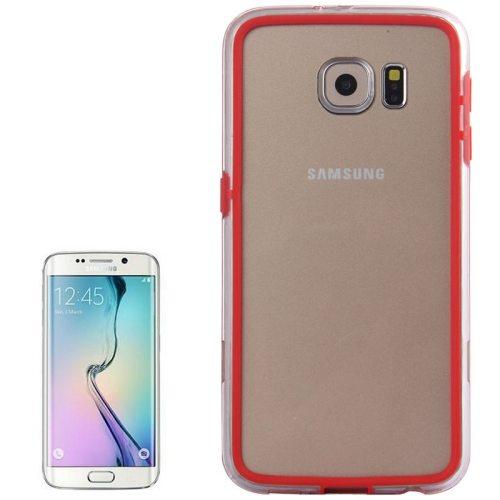 Transparent Plastic + TPU Bumper Frame Case for Samsung Galaxy S6 (Red)