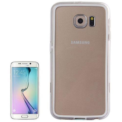 Transparent Plastic + TPU Bumper Frame Case for Samsung Galaxy S6 (White)
