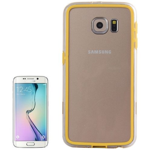 Transparent Plastic + TPU Bumper Frame Case for Samsung Galaxy S6 (Yellow)