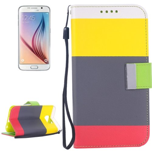 Rainbow Stripe Texture Flip Magnetic Wallet Case for Samsung Galaxy S6 (Yellow+Grey+Red)