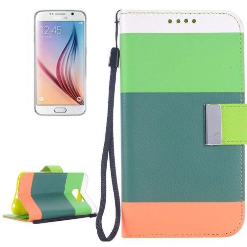 Rainbow Stripe Texture Flip Magnetic Wallet Case for Samsung Galaxy S6 (Green+Cyan+Pink)