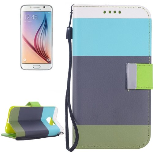 Rainbow Stripe Texture Flip Magnetic Wallet Case for Samsung Galaxy S6 (Baby Blue+Grey+Green)