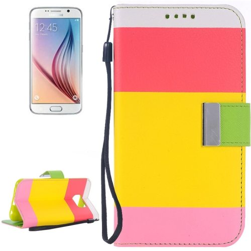 Rainbow Stripe Texture Flip Magnetic Wallet Case for Samsung Galaxy S6 (Red+Yellow+Pink)
