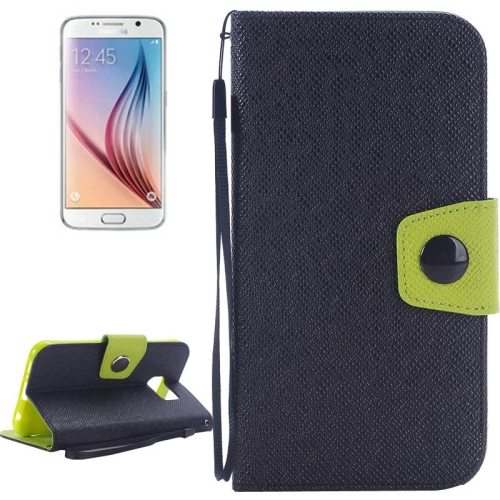 Korean Style Magnetic Flip Wallet Case Cover for Samsung Galaxy S6 (Black+Green)