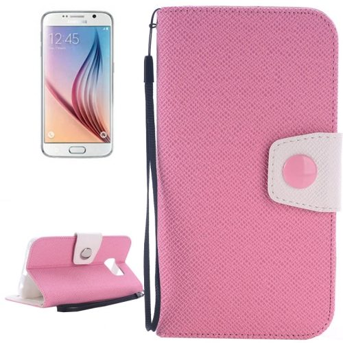 Korean Style Magnetic Flip Wallet Case Cover for Samsung Galaxy S6 (Pink+White)