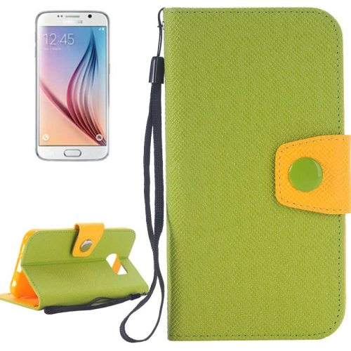 Korean Style Magnetic Flip Wallet Case Cover for Samsung Galaxy S6 (Green+Orange)