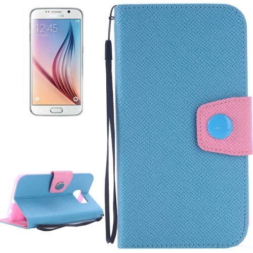 Korean Style Magnetic Flip Wallet Case Cover for Samsung Galaxy S6 (Blue+Pink)