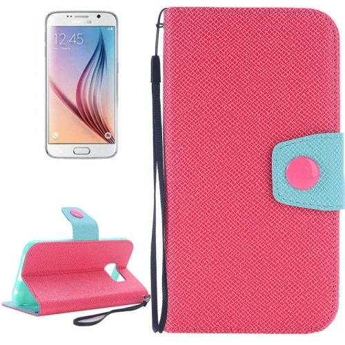 Korean Style Magnetic Flip Wallet Case Cover for Samsung Galaxy S6 (Red+Light Blue)