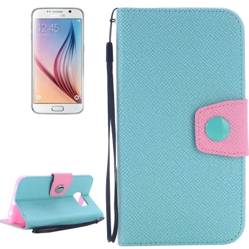Korean Style Magnetic Flip Wallet Case Cover for Samsung Galaxy S6 (Light Blue+Pink)