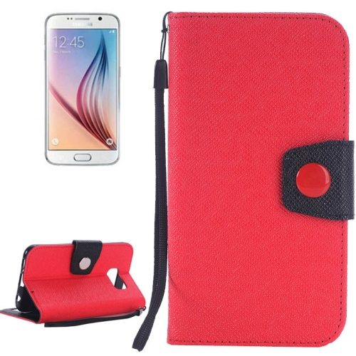 Korean Style Magnetic Flip Wallet Case Cover for Samsung Galaxy S6 (Red+Black)
