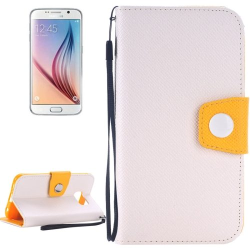 Korean Style Magnetic Flip Wallet Case Cover for Samsung Galaxy S6 (White+Yellow)