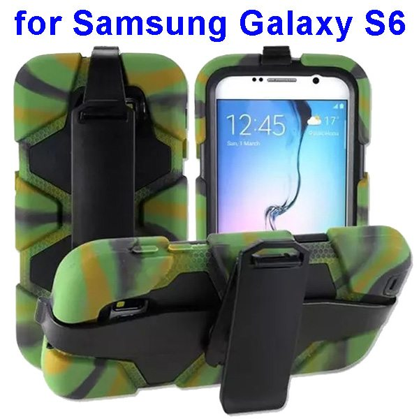 2 in 1 Silicone and PC Hybrid Case for Samsung Galaxy S6 with Belt Clip (Green)