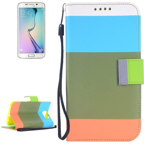 Rainbow Stripe Texture Flip Stand Wallet Leather Cover for Samsung Galaxy S6 Edge with Lanyard (Blue+Green+Orange)