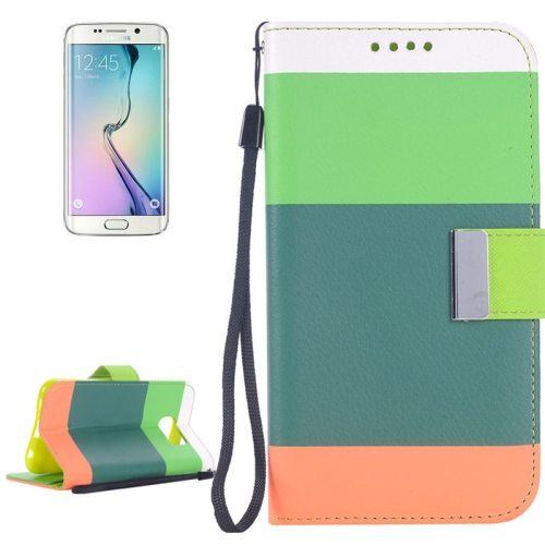 Rainbow Stripe Texture Flip Stand Wallet Leather Cover for Samsung Galaxy S6 Edge with Lanyard (Green+Dark Green+Orange)