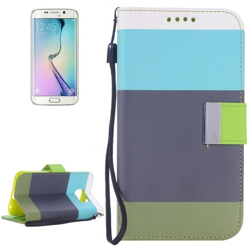 Rainbow Stripe Texture Flip Stand Wallet Leather Cover for Samsung Galaxy S6 Edge with Lanyard (Blue+Gray+Green)
