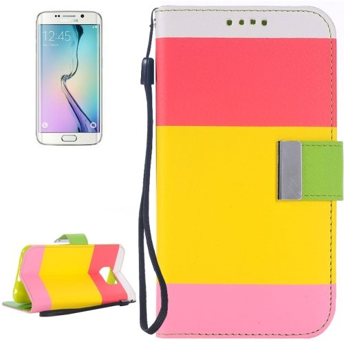 Rainbow Stripe Texture Flip Stand Wallet Leather Cover for Samsung Galaxy S6 Edge with Lanyard (Red+Yellow+Pink)