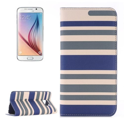 Strip Pattern Leather Case Flip Cover for Samsung Galaxy S6 with Card Slots and Holder (Dark Blue)