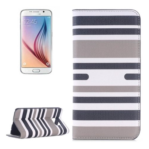 Strip Pattern Leather Case Flip Cover for Samsung Galaxy S6 with Card Slots and Holder (Gray)