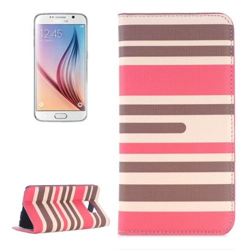 Strip Pattern Leather Case Flip Cover for Samsung Galaxy S6 with Card Slots and Holder (Red)