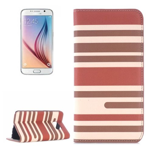 Strip Pattern Leather Case Flip Cover for Samsung Galaxy S6 with Card Slots and Holder (Brown)
