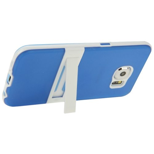 Frosted Surface TPU and PC Hybrid Case for Samsung Galaxy S6 with Holder (Blue)